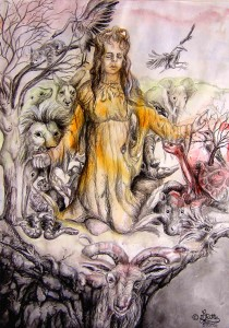 Worship Mother Nature (Watercolors and China Ink)
