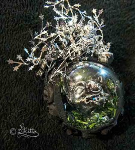 Gothic-Christmas Ball ( With Polymer Clay Sculpture Inside)