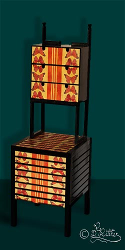 Asian Commode ( Wood and Mixed Media)