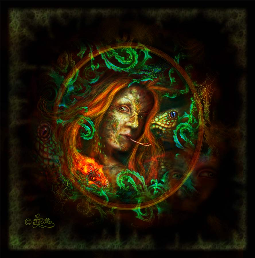 Medusa Behind The Leaves (Digital Painting)