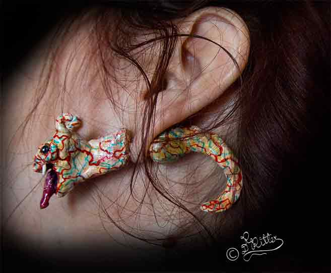 Ear Worm ( Earring, Polymer Clay)